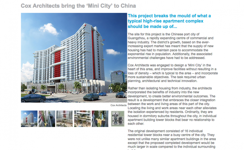 Mini city design Guangzhou China by Cox Architects